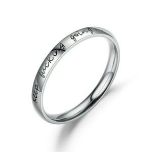 """""""Keep Effing Going"""" Message Stainless Steel Ring"""